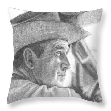 Former Pres. George W. Bush Wearing A Cowboy Hat Throw Pillow by Michelle Flanagan