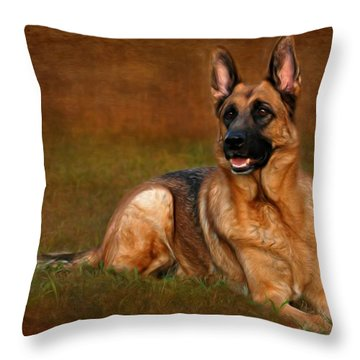 Forrest The German Shepherd Throw Pillow by Angie Tirado