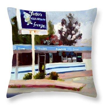 Foster's Freeze Throw Pillow by Deborah Cushman