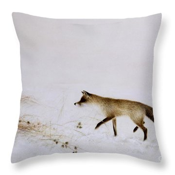 Fox In Snow Throw Pillow by Jane Neville