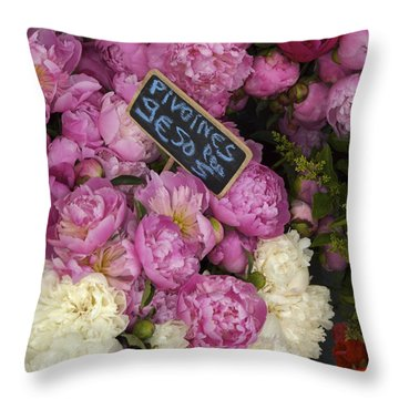 France, Paris Peonies Flowers Throw Pillow by Keenpress