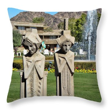 Frank Lloyd Wright Maidens At The Biltmore Throw Pillow by Diane Wood