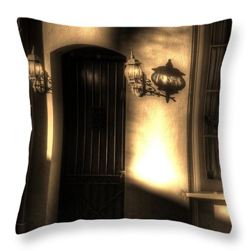 French Quarter Door Throw Pillow by Greg and Chrystal Mimbs