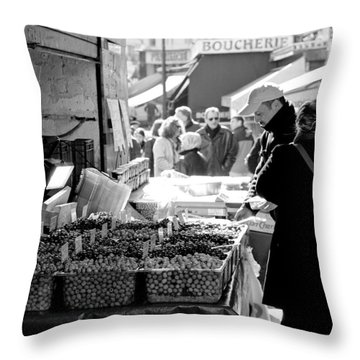 French Street Market Throw Pillow by Sebastian Musial