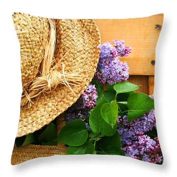 Freshly Picked Lilacs Throw Pillow by Sandra Cunningham