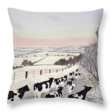 Friesians In Winter Throw Pillow by Maggie Rowe