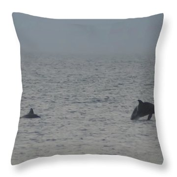 Frolicking Dolphins Throw Pillow by Bill Cannon