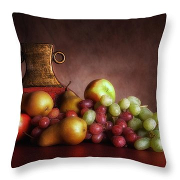Fruit With Vase Throw Pillow by Tom Mc Nemar
