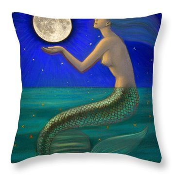 Full Moon Mermaid Throw Pillow by Sue Halstenberg
