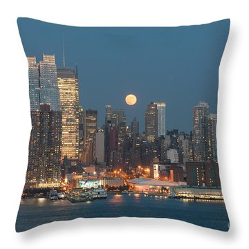 Full Moon Rising Over New York City I Throw Pillow by Clarence Holmes