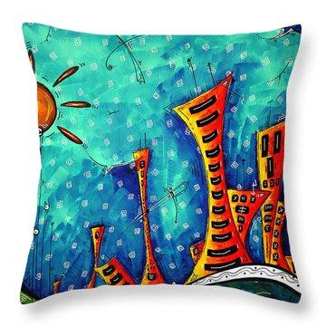 Funky Town Original Madart Painting Throw Pillow by Megan Duncanson