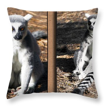 Funny Lemurs Throw Pillow by Svetlana Sewell