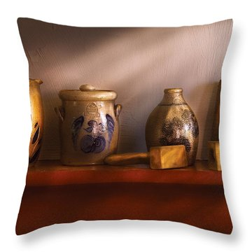 Furniture - Shelf - Family Heirlooms  Throw Pillow by Mike Savad