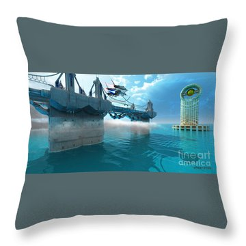 Futuristic Skyway Throw Pillow by Corey Ford