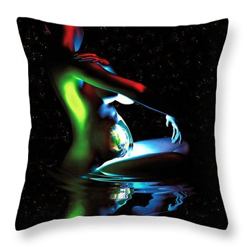 Gaia Bathing In A Pool Of Stars Throw Pillow by Pet Serrano