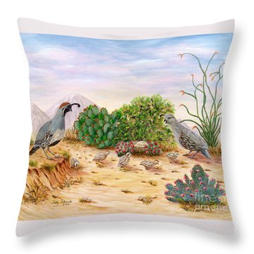 Gambel Quails Day In The Life Throw Pillow by Judy Filarecki