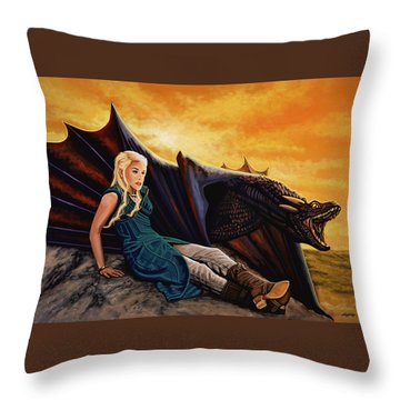 Game Of Thrones Painting Throw Pillow by Paul Meijering
