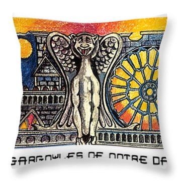Gargoyles Of Notre Dame Throw Pillow by John Keaton