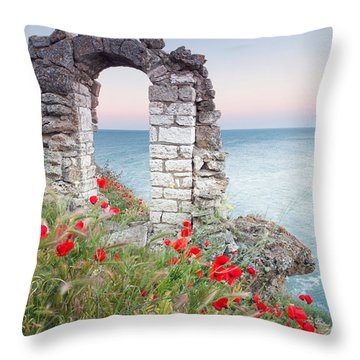 Gate In The Poppies Throw Pillow by Evgeni Dinev