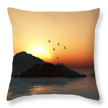 Geese And Sunset Throw Pillow by David Lane
