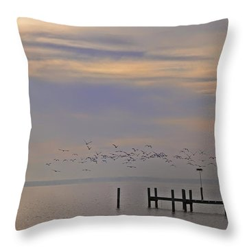 Geese Over The Chesapeake Throw Pillow by Bill Cannon