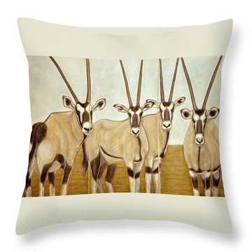 Gemsboks Or 0ryxs Triptych Throw Pillow by Isabelle Ehly