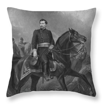General George Mcclellan On Horseback Throw Pillow by War Is Hell Store