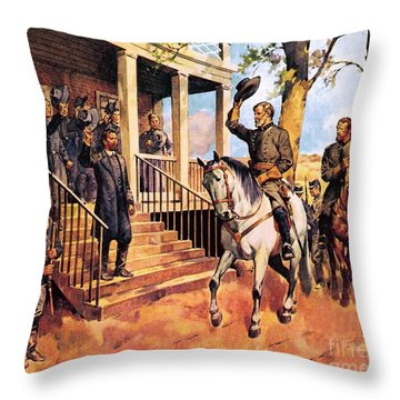General Lee And His Horse 'traveller' Surrenders To General Grant By Mcconnell Throw Pillow by James Edwin