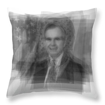 George H. W. Bush Throw Pillow by Steve Socha