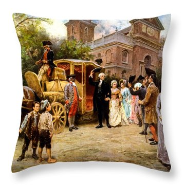 George Washington Arriving At Christ Church Throw Pillow by War Is Hell Store