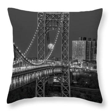 George Washington Bridge Full Moonrise Bw Throw Pillow by Susan Candelario