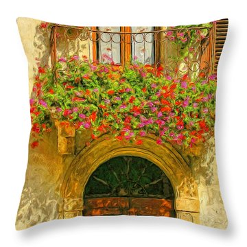 Gerani Coloriti Throw Pillow by Dominic Piperata