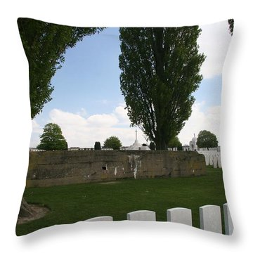 Throw Pillow featuring the photograph German Bunker At Tyne Cot Cemetery by Travel Pics