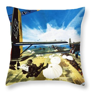 German Paratroopers Landing On Crete During World War Two Throw Pillow by Wilf Hardy