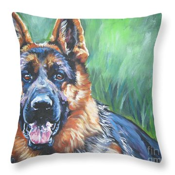 German Shepherd Throw Pillow by Lee Ann Shepard
