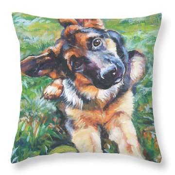 German Shepherd Pup With Ball Throw Pillow by Lee Ann Shepard