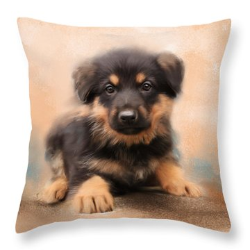 German Shepherd Puppy Portrait Throw Pillow by Jai Johnson
