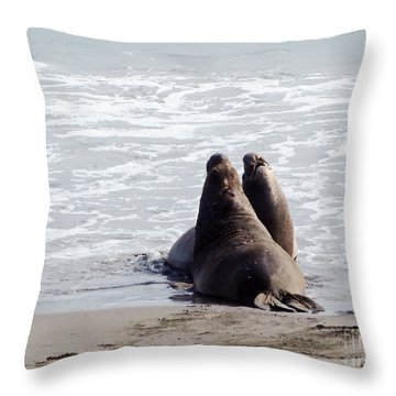 Get Off My Beach Throw Pillow by Methune Hively