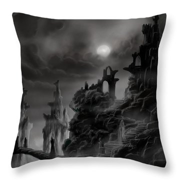 Ghost Castle Throw Pillow by James Christopher Hill