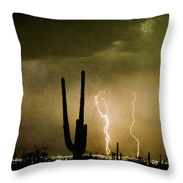 Giant Saguaro Southwest Lightning  Peace Out  Throw Pillow by James BO  Insogna