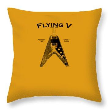 Gibson Flying V Throw Pillow by Mark Rogan