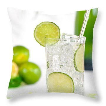 Gin And Tonic Drink Throw Pillow by Amanda Elwell