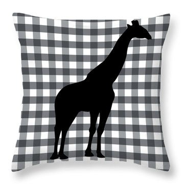 Giraffe Silhouette Throw Pillow by Linda Woods