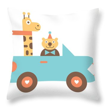 Animal Car Pool Throw Pillow by Mitch Frey