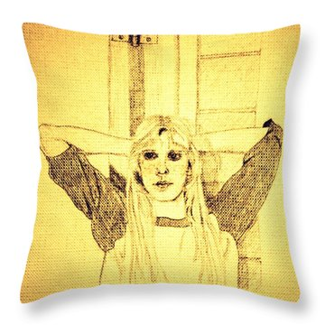 Girl In School Lunch Room Throw Pillow by Sheri Parris