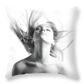 Girl With Flying Blond Hair Throw Pillow by Olena Zaskochenko