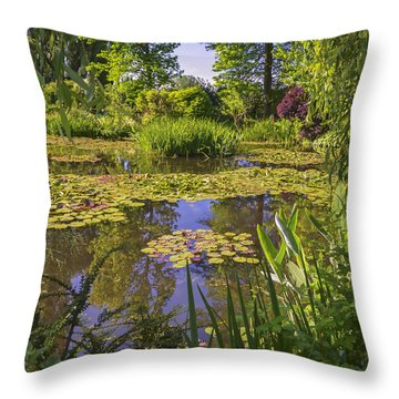 Giverny France - Claude Monet's Pond  Throw Pillow by Allen Sheffield