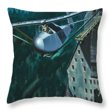 Glider Escape From Colditz Castle Throw Pillow by Wilf Hardy