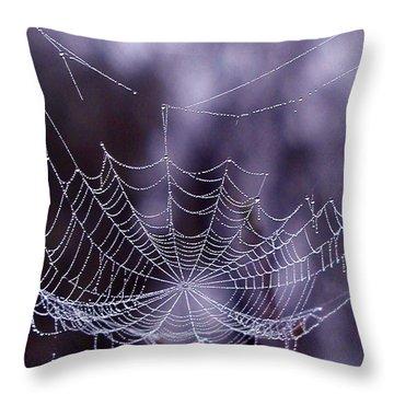 Glistening Web Throw Pillow by Karol Livote