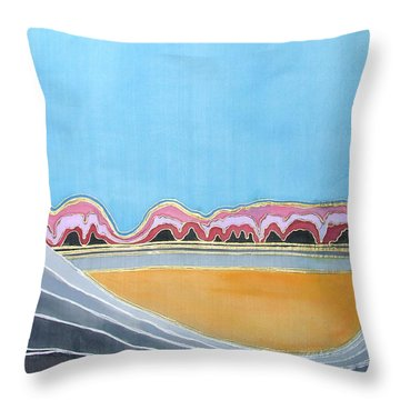 Global Warming Silk Melting Glaciers Valley Or Where Did All My Blue Glaciers Go  Throw Pillow by Rachel Hershkovitz